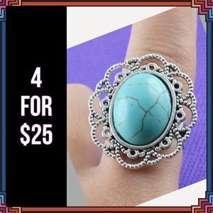 Jewelry - 4 FOR $25 🎁🎄🍾🥂 Turquoise Resin Tibet Ring